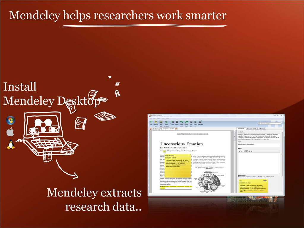 Mendeley extracts research data.. Install Mende...