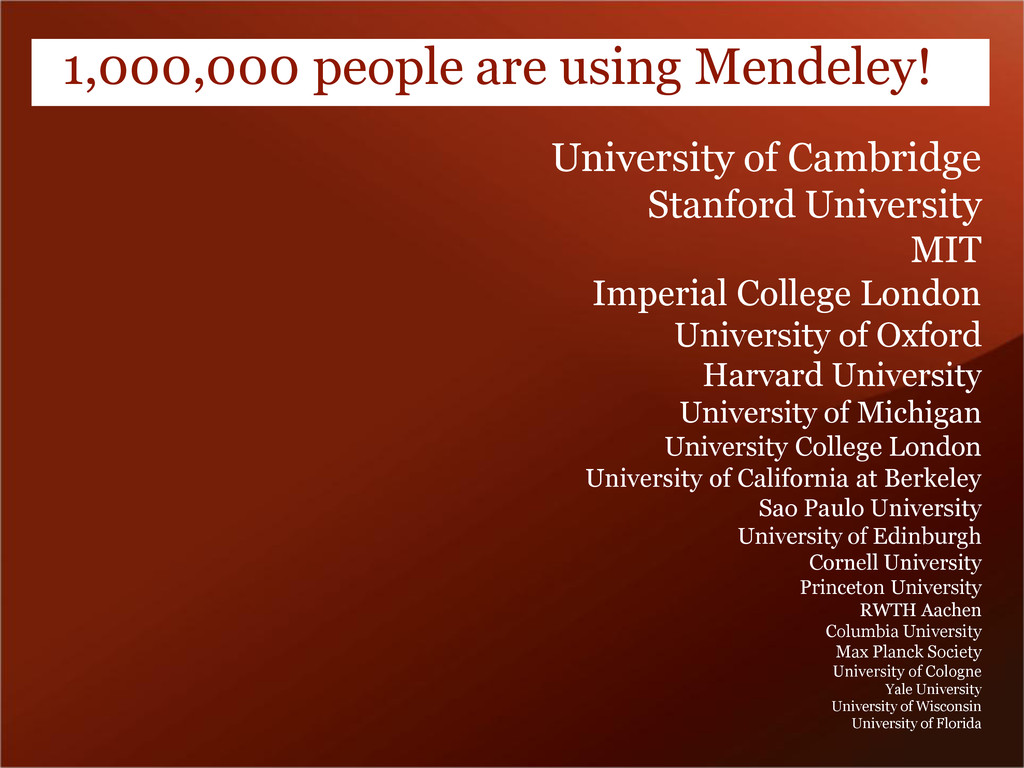 1,000,000 people are using Mendeley! University...