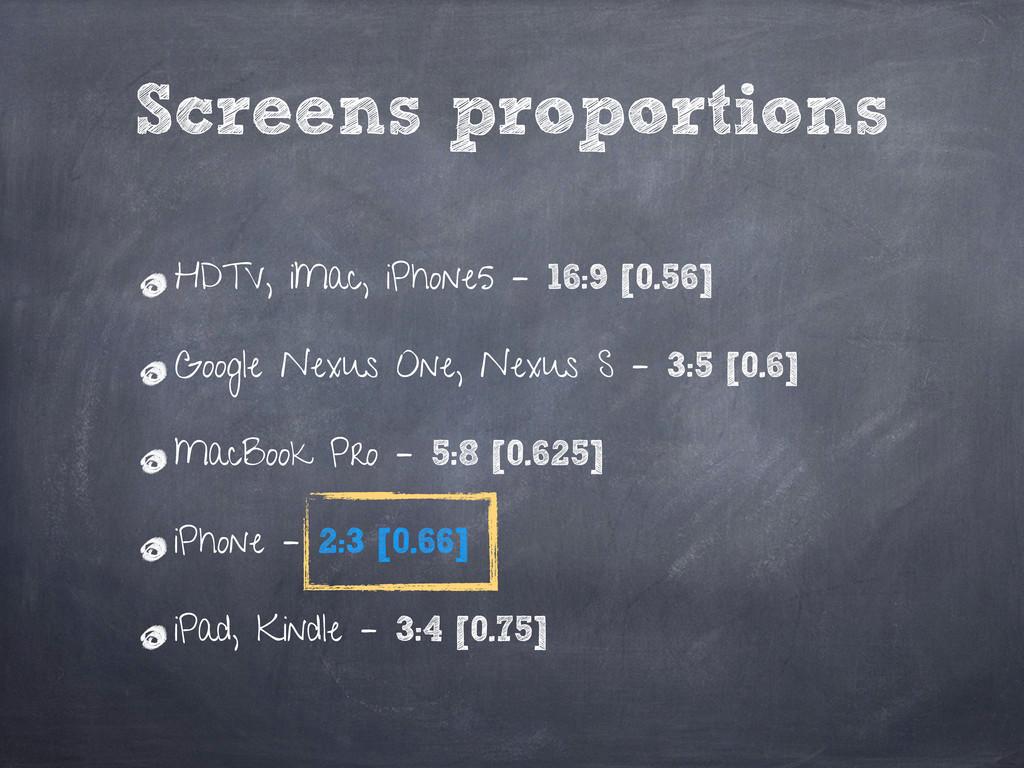 HDTV, iMac, iPhone5 – 16:9 [0.56] Google Nexus ...