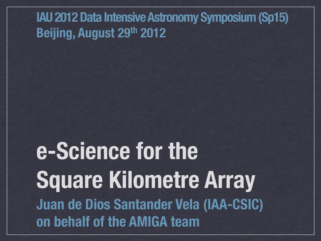 e-Science for the Square Kilometre Array Juan d...