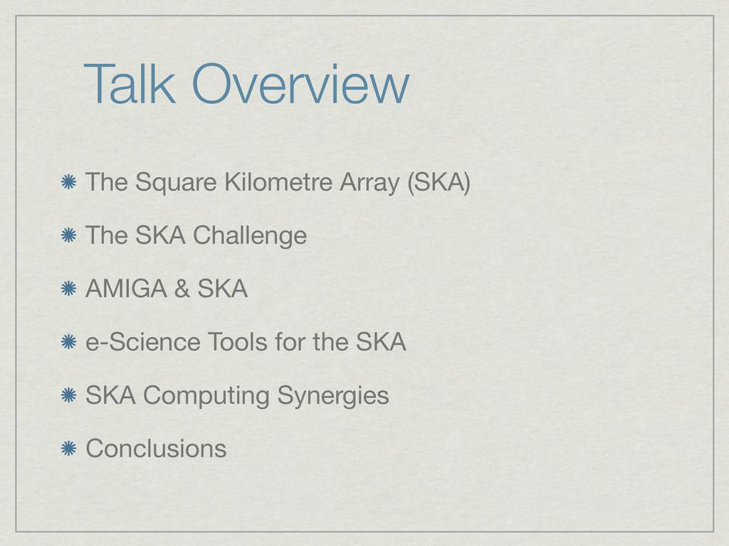 Talk Overview The Square Kilometre Array (SKA) ...