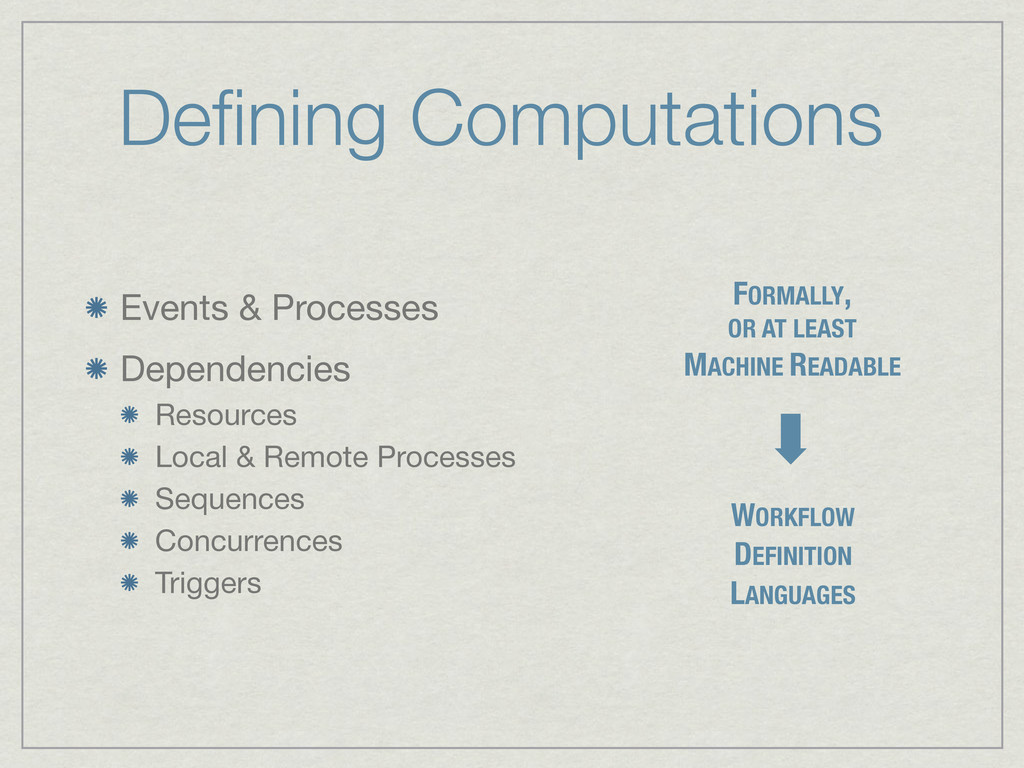 Defining Computations Events & Processes Depende...