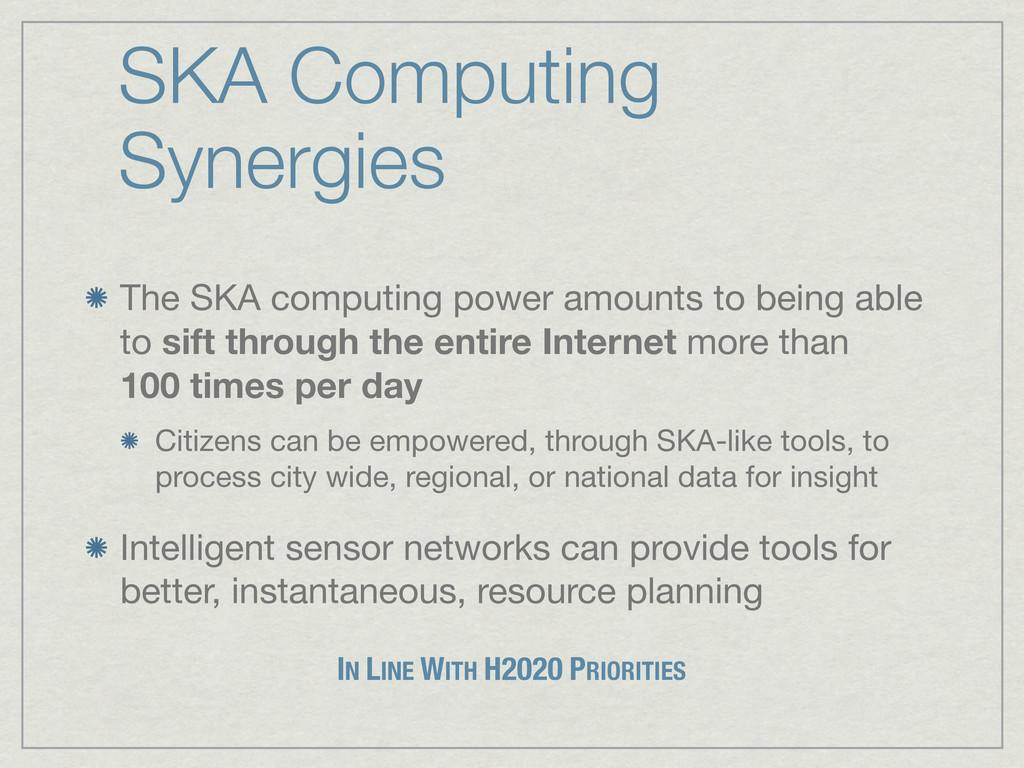 SKA Computing Synergies The SKA computing power...