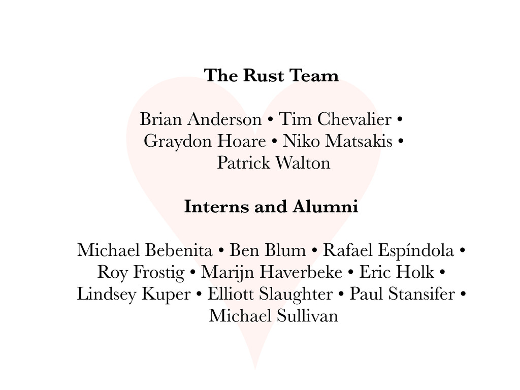 ♥ The Rust Team Brian Anderson • Tim Chevalier ...