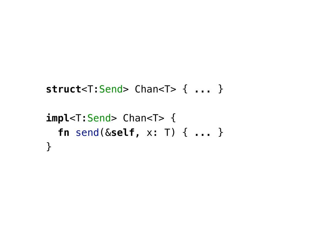 struct<T:Send> Chan<T> { ... } impl<T:Send> Cha...