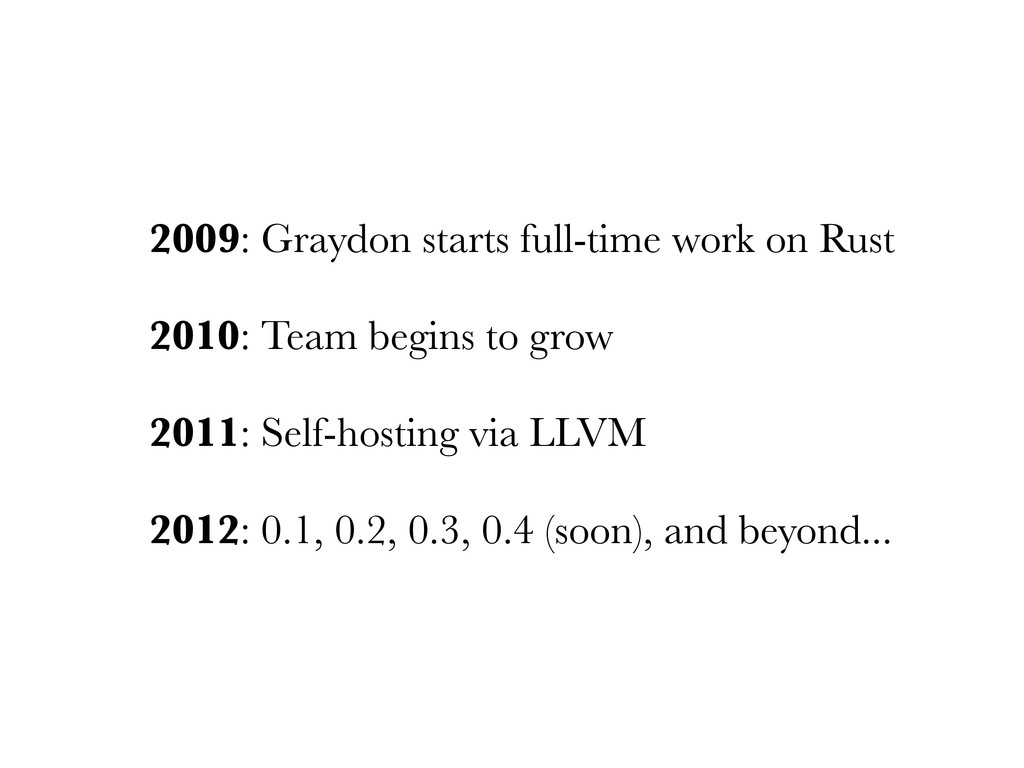 2009: Graydon starts full-time work on Rust 201...