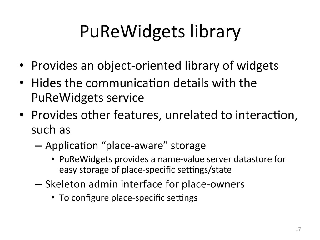 PuReWidgets library  • Provides an ...