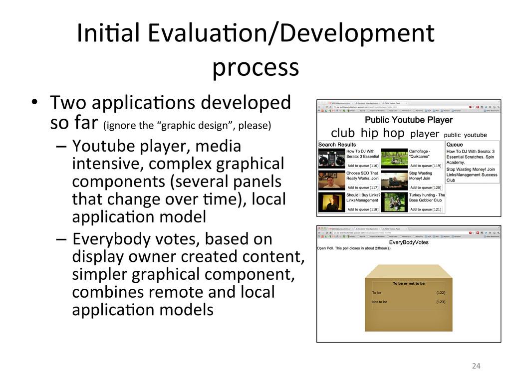 Ini6al Evalua6on/Development  process ...