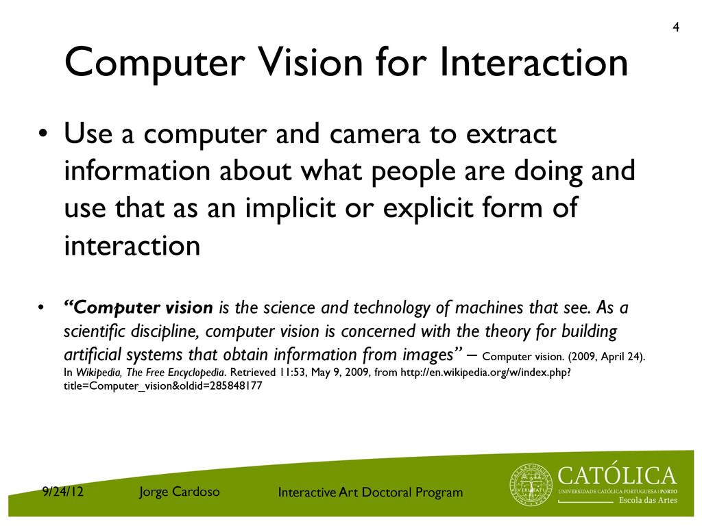 Interactive Art Doctoral Program Computer Visio...