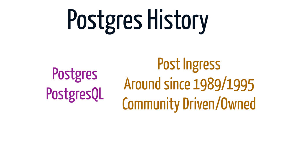 Postgres History Postgres PostgresQL Post Ingre...