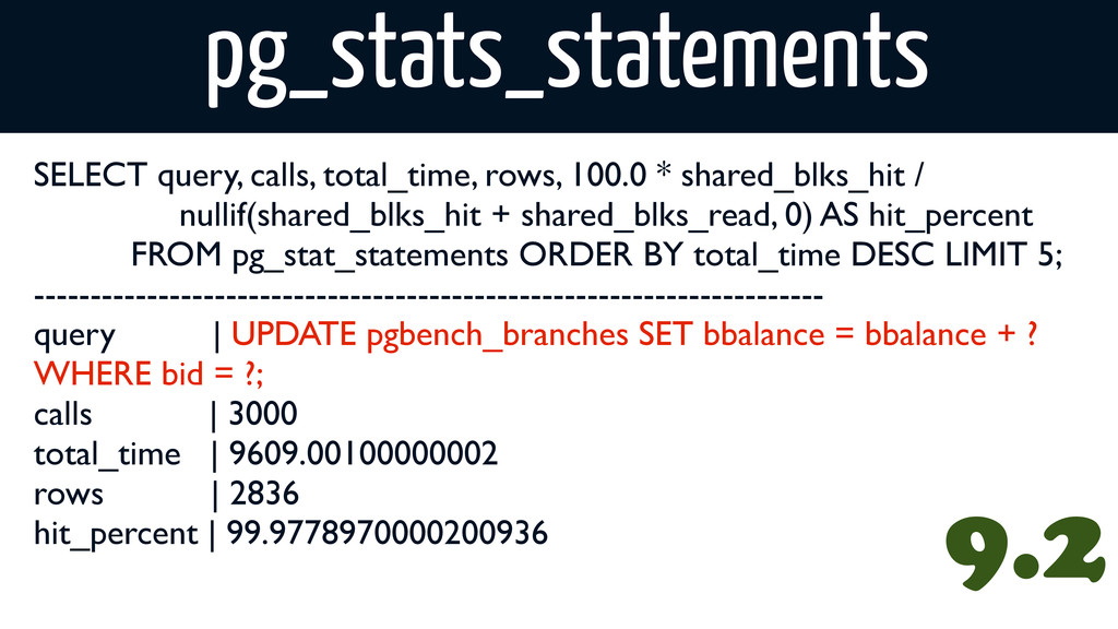 pg_stats_statements SELECT query, calls, total_...