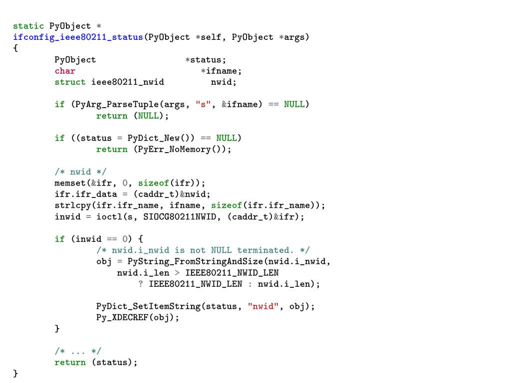 static PyObject * ifconfig_ieee80211_status(PyO...