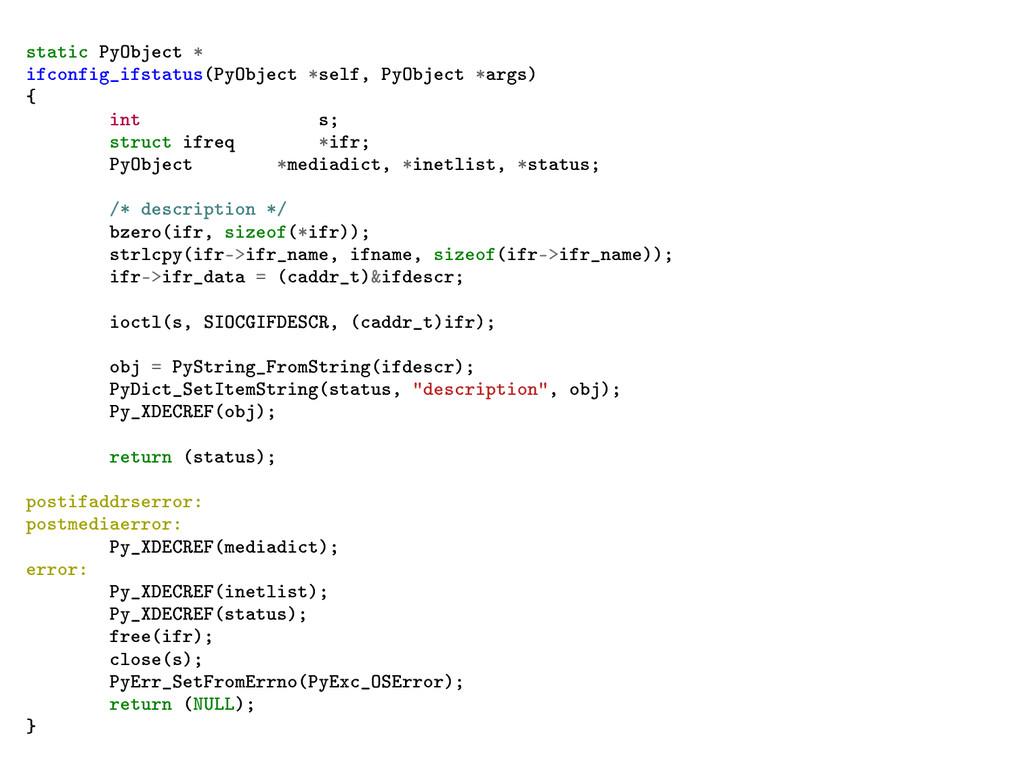 static PyObject * ifconfig_ifstatus(PyObject *s...
