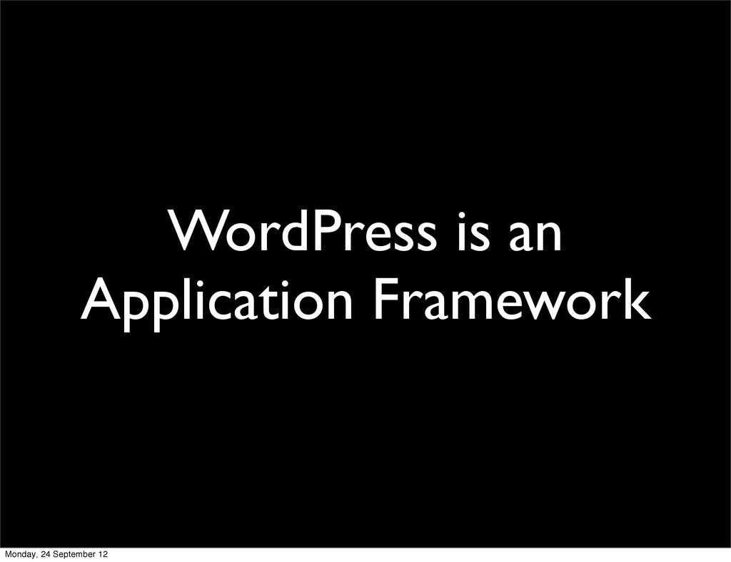 WordPress is an Application Framework Monday, 2...