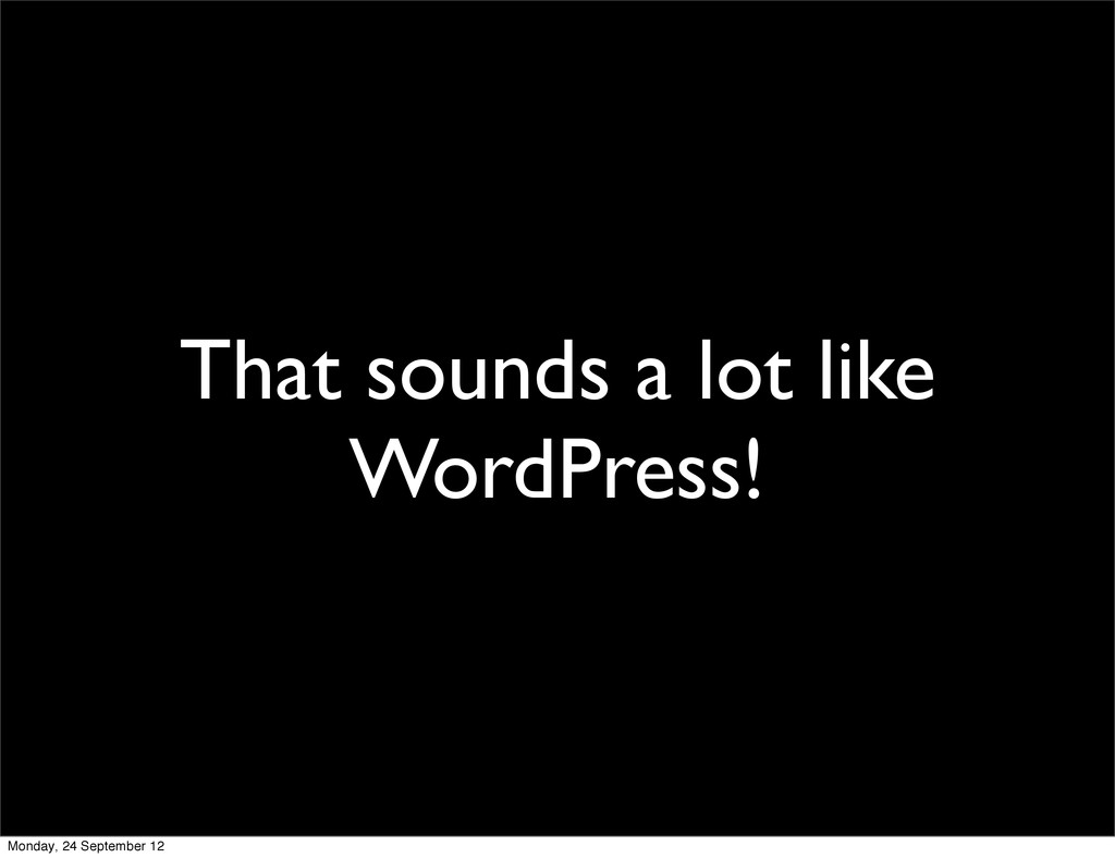 That sounds a lot like WordPress! Monday, 24 Se...