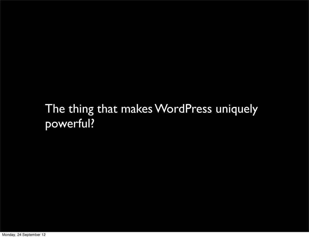 The thing that makes WordPress uniquely powerfu...