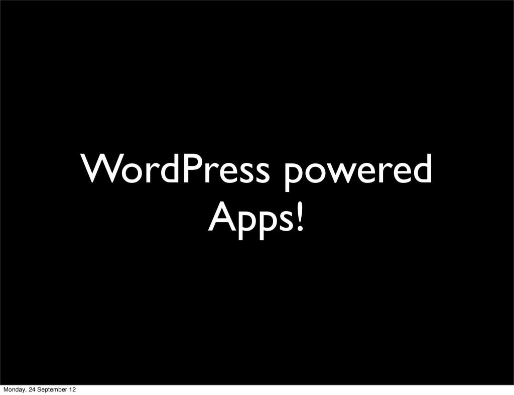WordPress powered Apps! Monday, 24 September 12