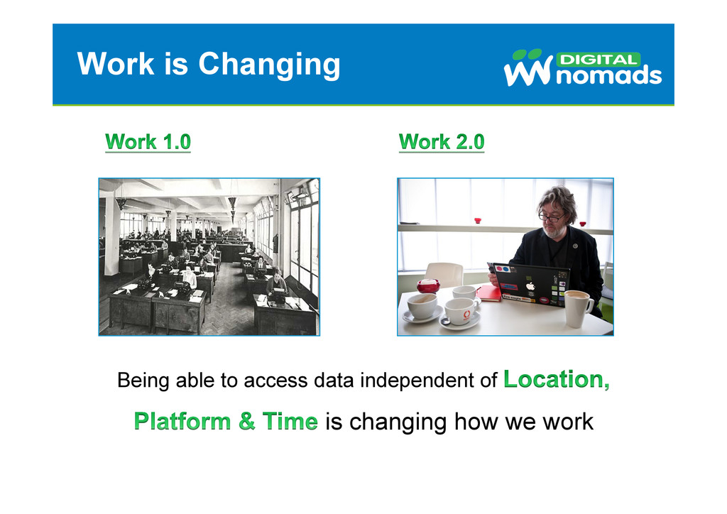 Work is Changing Being able to access data inde...