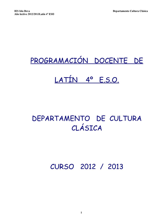 IES Isla Deva Departamento Cultura Clásica Año ...