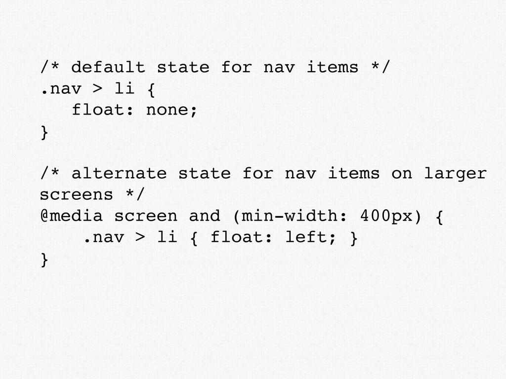 /* default state for nav items */ .nav > li { f...