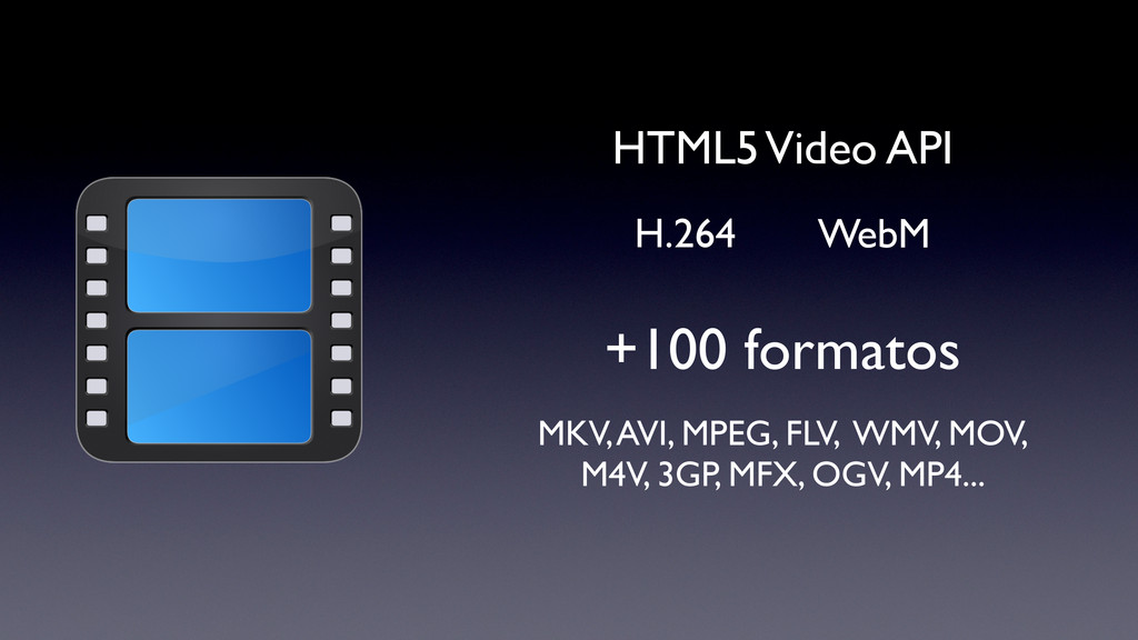 +100 formatos HTML5 Video API WebM H.264 MKV, A...