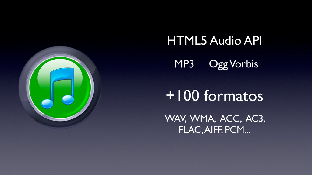 +100 formatos HTML5 Audio API Ogg Vorbis MP3 WA...