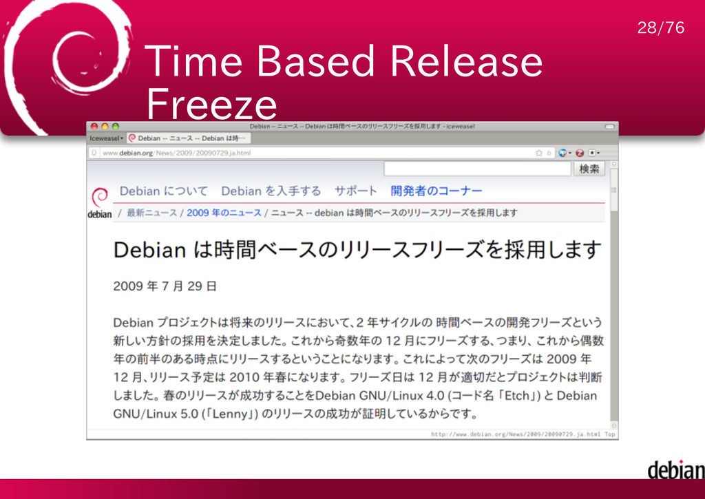 Time Based Release Freeze 28/76