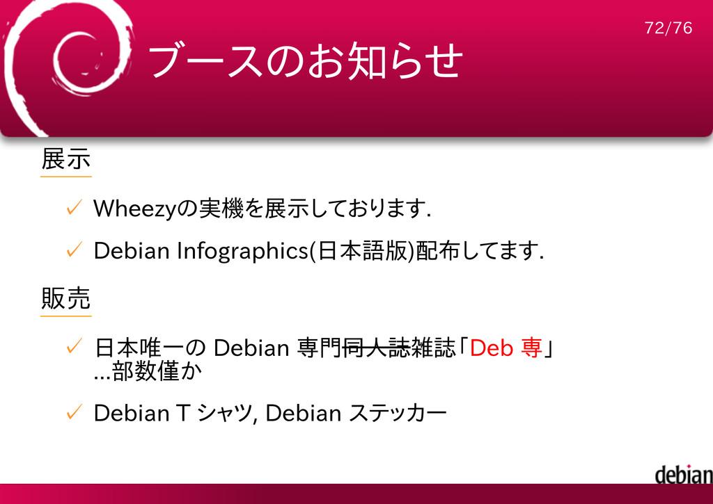 ブースのお知らせ 展示 Wheezyの実機を展示しております. ✓ Debian Infogr...