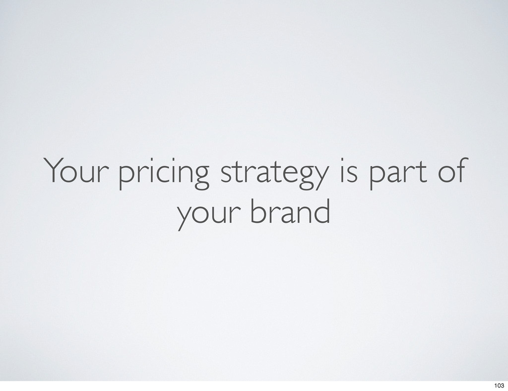 Your pricing strategy is part of your brand 103
