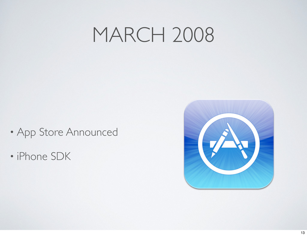 MARCH 2008 • App Store Announced • iPhone SDK 13