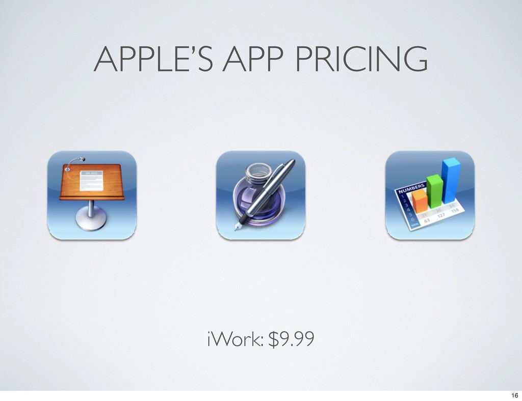 APPLE'S APP PRICING iWork: $9.99 16