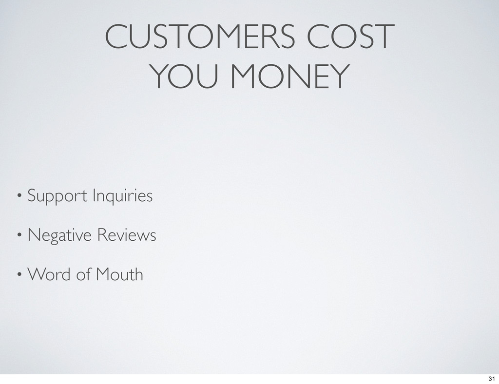 CUSTOMERS COST YOU MONEY • Support Inquiries • ...