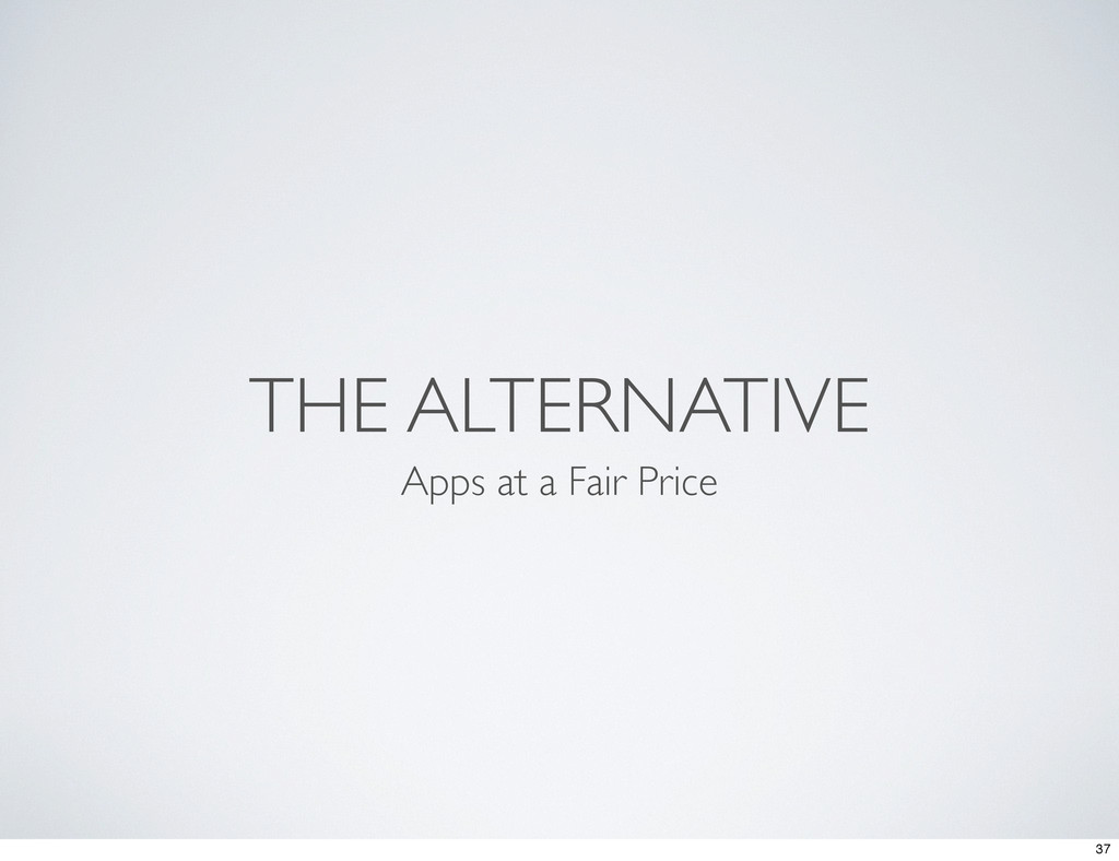 THE ALTERNATIVE Apps at a Fair Price 37