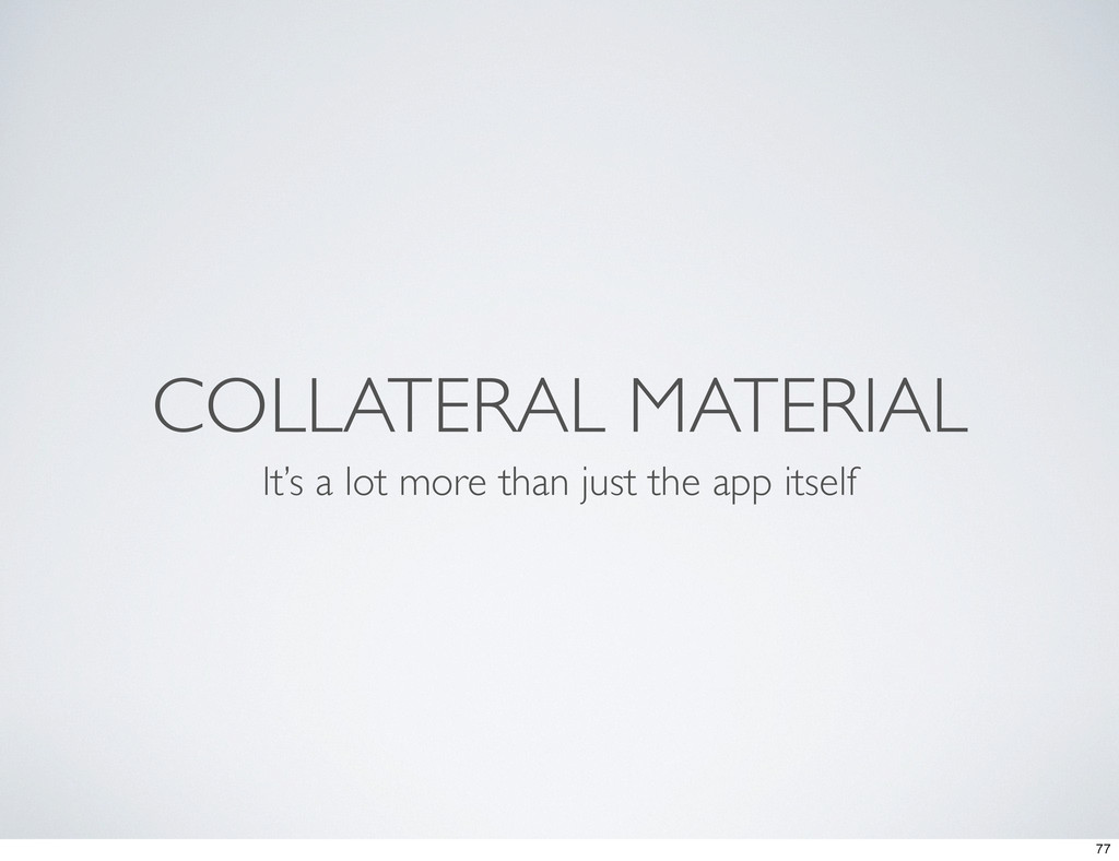 COLLATERAL MATERIAL It's a lot more than just t...