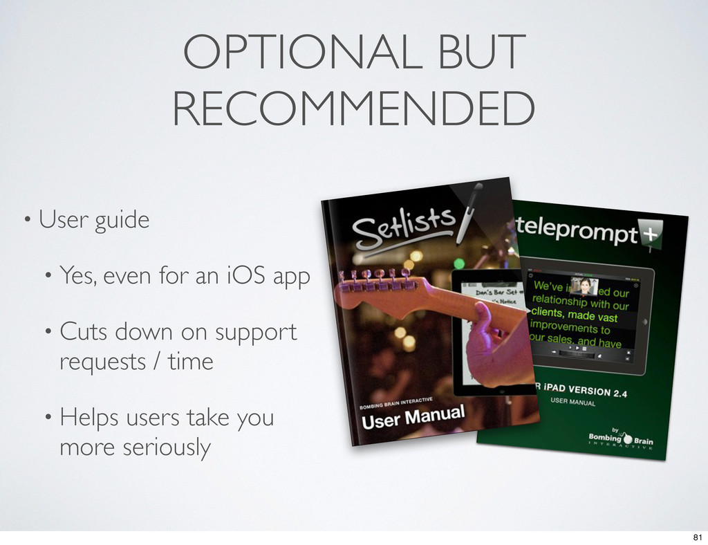 OPTIONAL BUT RECOMMENDED • User guide • Yes, ev...
