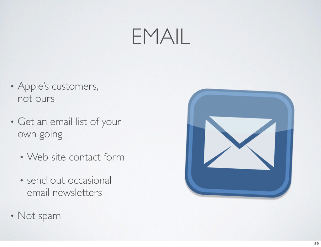 EMAIL • Apple's customers, not ours • Get an em...