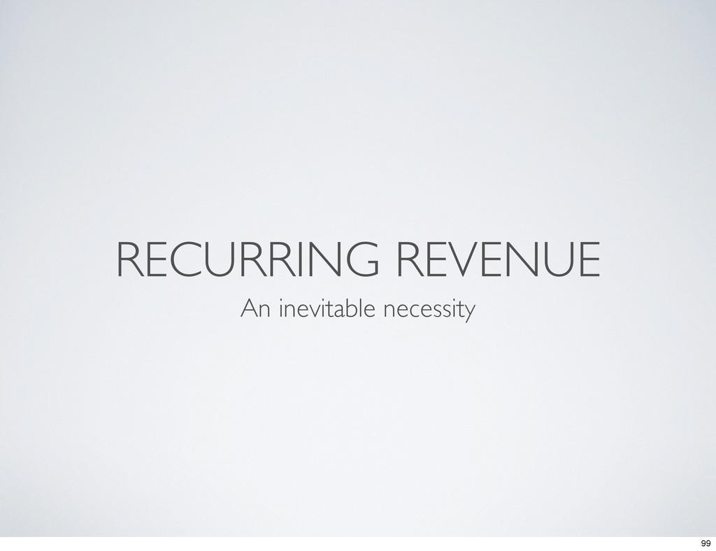 RECURRING REVENUE An inevitable necessity 99