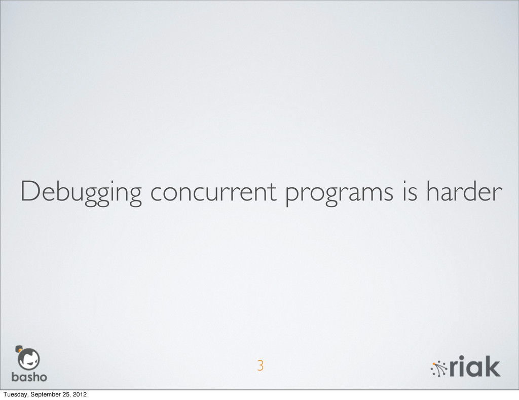 Debugging concurrent programs is harder 3 Tuesd...