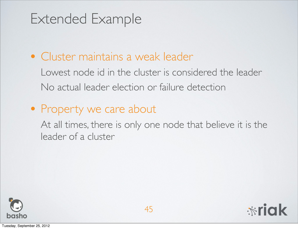 Extended Example • Cluster maintains a weak lea...