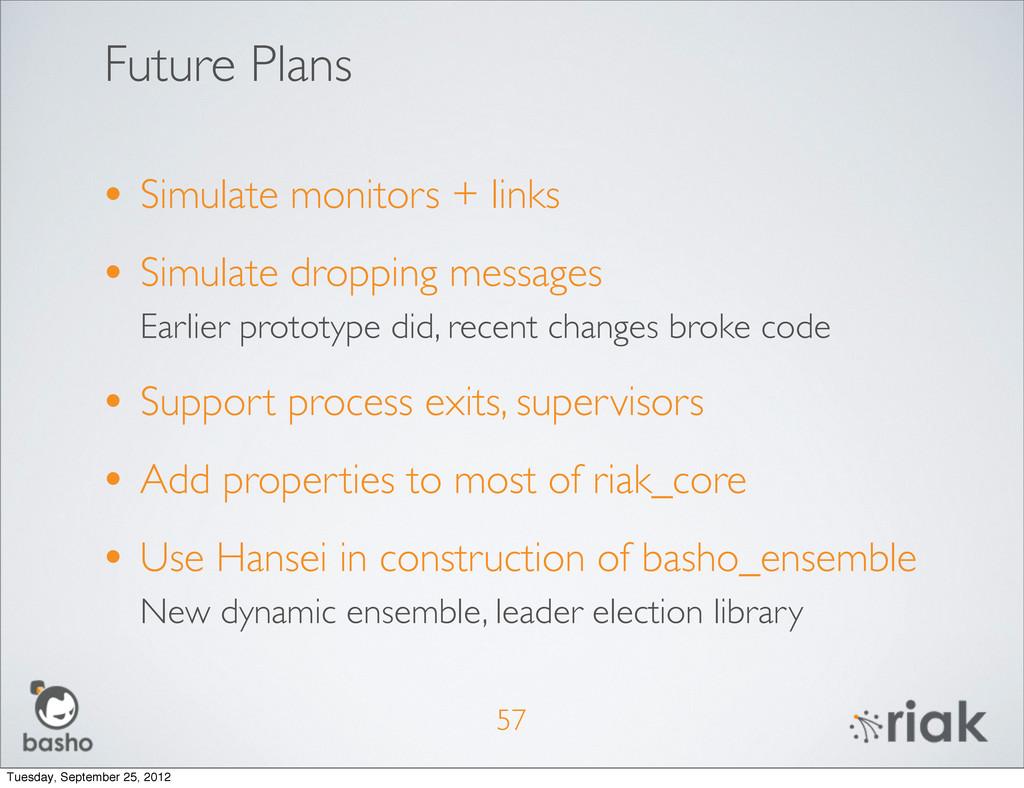Future Plans • Simulate monitors + links • Simu...