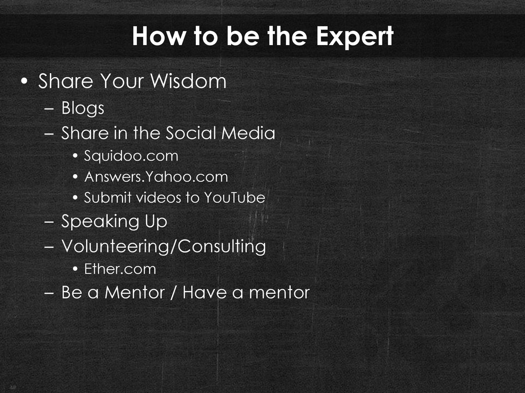 How to be the Expert • Share Your Wisdom – Blog...