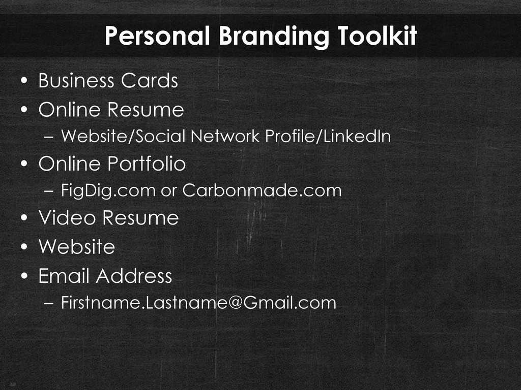 Personal Branding Toolkit • Business Cards • On...