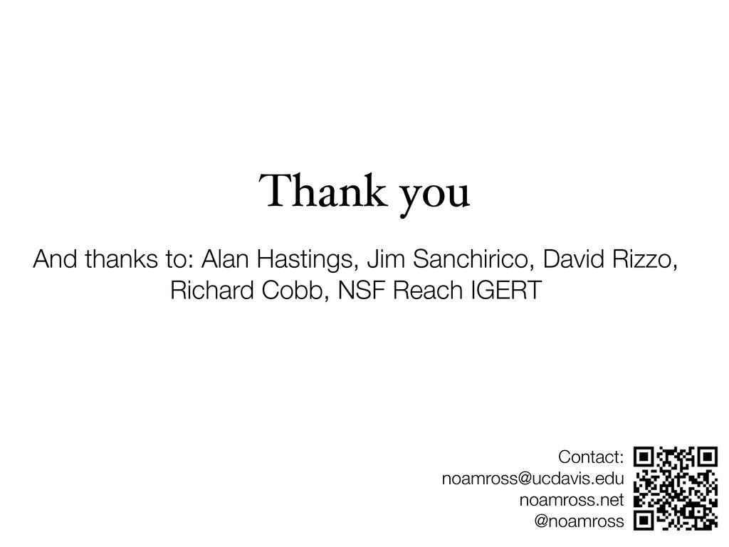 Thank you And thanks to: Alan Hastings, Jim San...