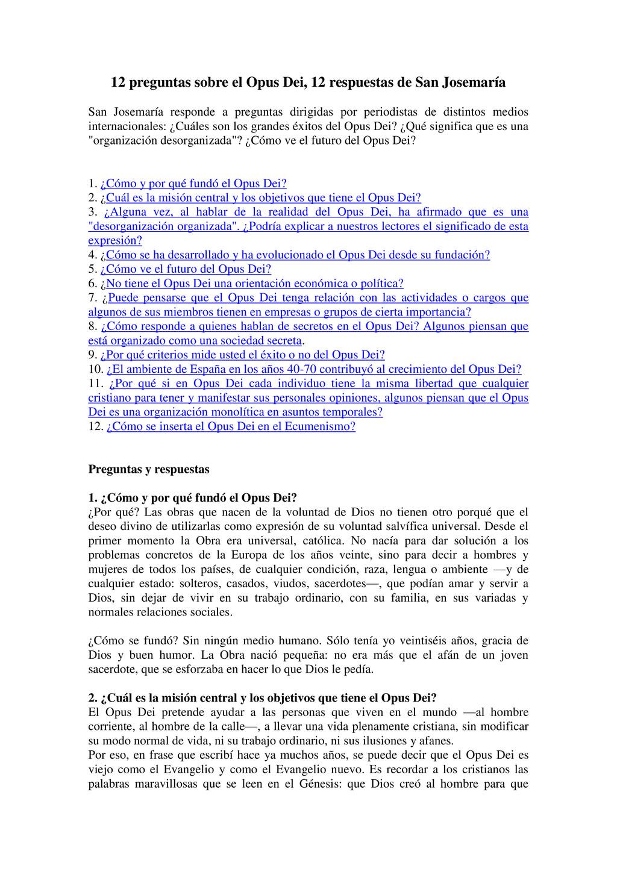 12 preguntas sobre el Opus Dei, 12 respuestas d...