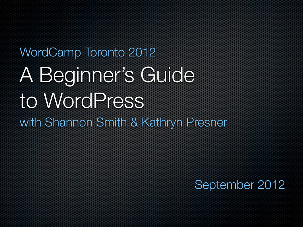 A Beginner's Guide to WordPress with Shannon Sm...