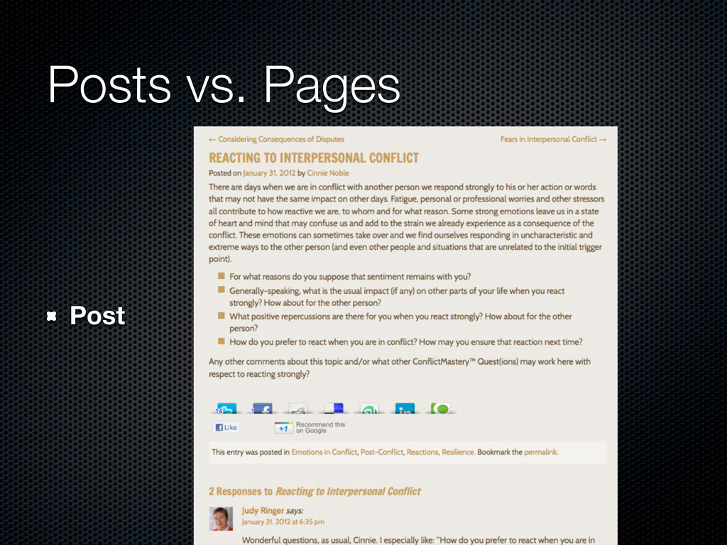 Posts vs. Pages Post