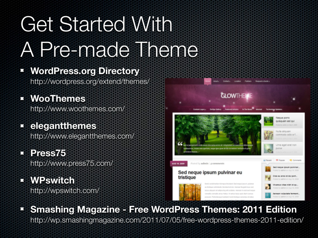 Get Started With A Pre-made Theme WordPress.org...