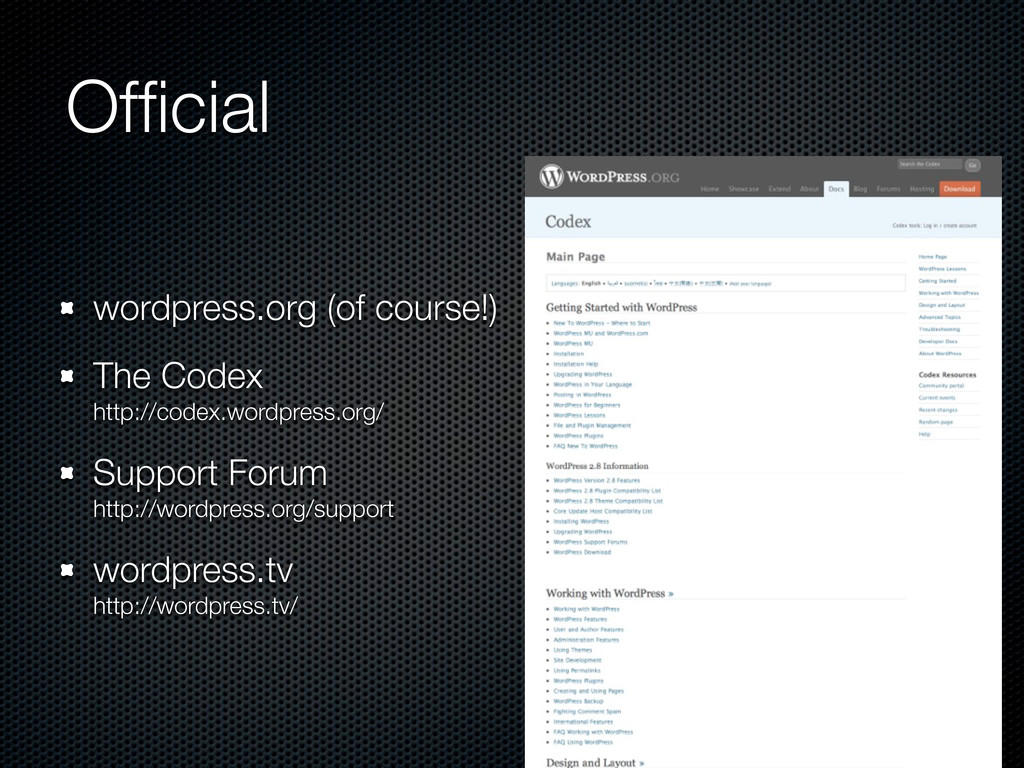 Official wordpress.org (of course!) The Codex ht...