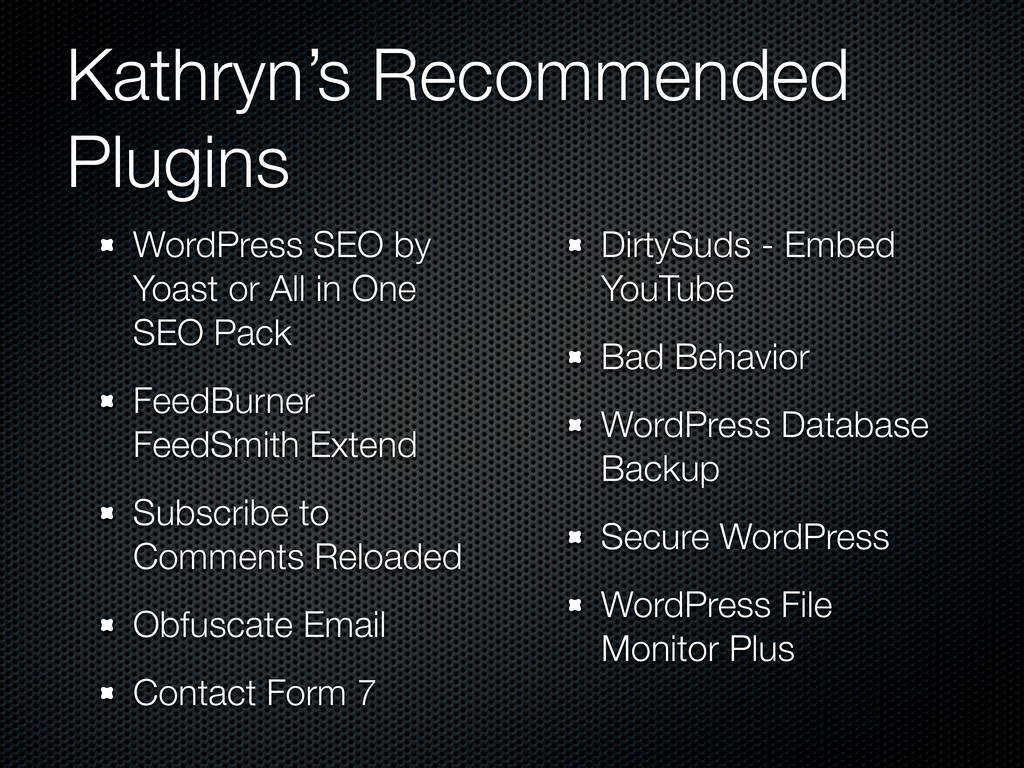 Kathryn's Recommended Plugins WordPress SEO by ...