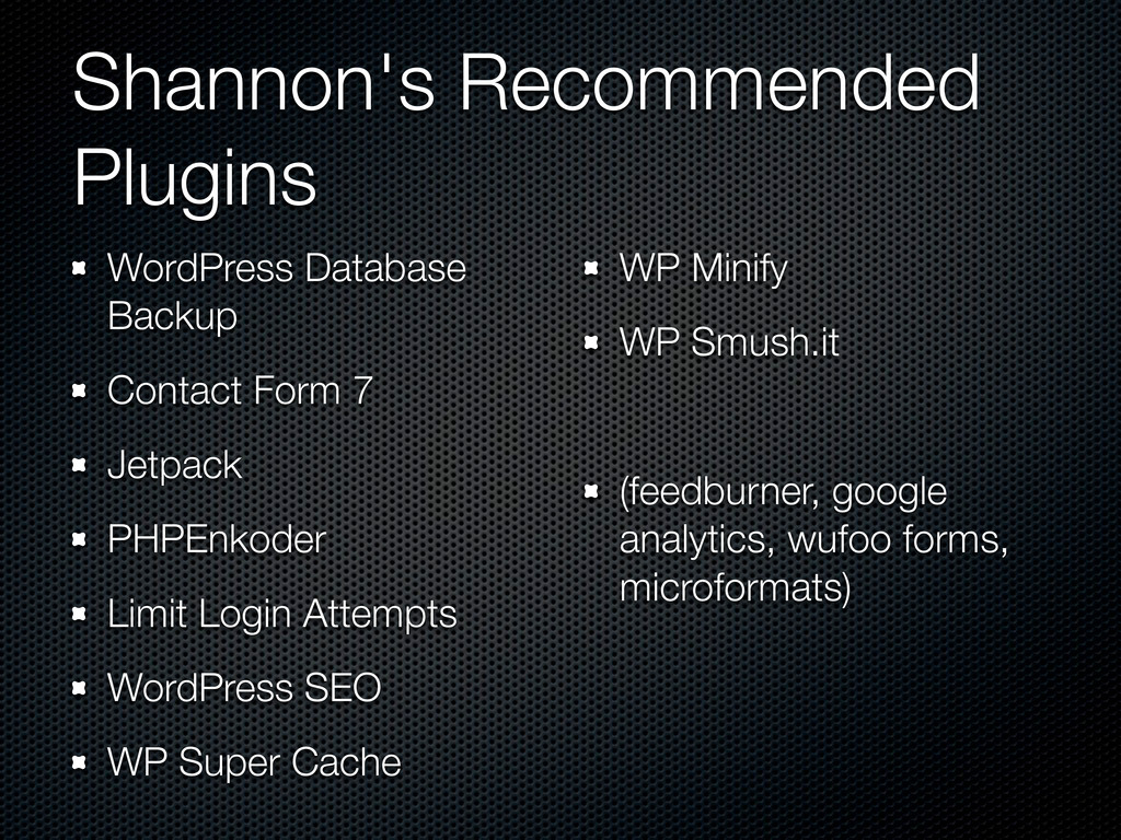 Shannon's Recommended Plugins WordPress Databas...